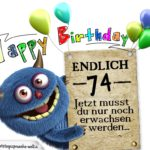 Glückwünsche zum 74. Geburtstag lustig erwachsen