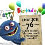 Glückwünsche zum 76. Geburtstag lustig erwachsen