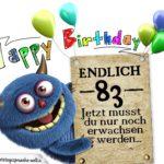 Glückwünsche zum 83. Geburtstag lustig erwachsen