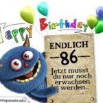 Glückwünsche zum 86. Geburtstag lustig erwachsen