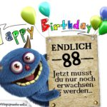 Glückwünsche zum 88. Geburtstag lustig erwachsen