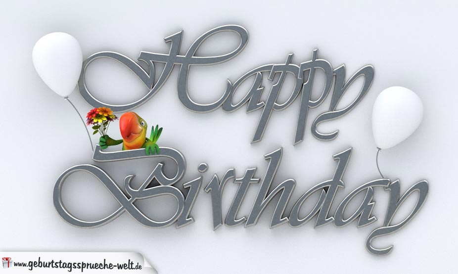Happy Birthday in Silberschrift geschrieben