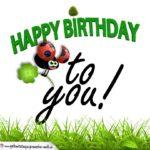 Happy Birthday mit Graszahlen und Marienkäfer