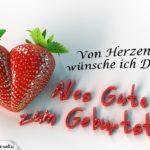 Herzliche Glückwünsche zum Geburtstag - Erdbeerherz