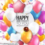 Schlichte Karte mit bunten Ballons in vielen Formen zum Geburtstag