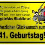 Gelbes Schild mit Esel und Ritter zum 41. Geburtstag