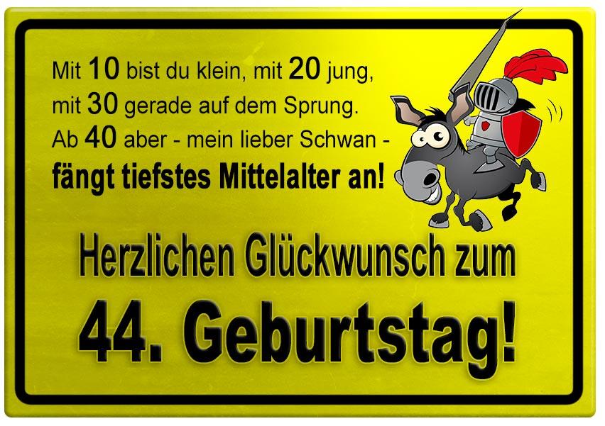 Gelbes Schild mit Esel und Ritter zum 44. Geburtstag - Geburtstagssprüche-Welt
