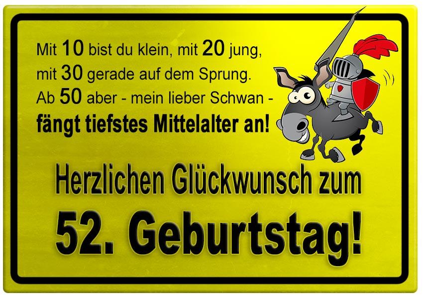 Gelbes Schild Mit Esel Und Ritter Zum 52 Geburtstag