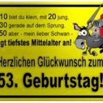 Gelbes Schild mit Esel und Ritter zum 53. Geburtstag