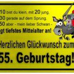 Gelbes Schild mit Esel und Ritter zum 55. Geburtstag