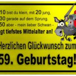 Gelbes Schild mit Esel und Ritter zum 59. Geburtstag
