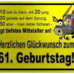 Gelbes Schild mit Esel und Ritter zum 61. Geburtstag