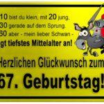 Gelbes Schild mit Esel und Ritter zum 67. Geburtstag