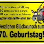 Gelbes Schild mit Esel und Ritter zum 70. Geburtstag