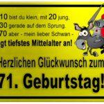Gelbes Schild mit Esel und Ritter zum 71. Geburtstag