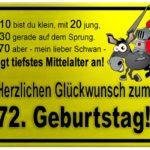 Gelbes Schild mit Esel und Ritter zum 72. Geburtstag