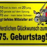 Gelbes Schild mit Esel und Ritter zum 75. Geburtstag
