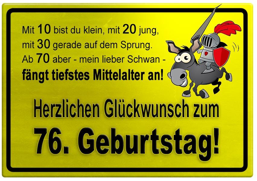 Gelbes Schild mit Esel und Ritter zum 76. Geburtstag - Geburtstagssprüche-Welt