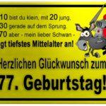 Gelbes Schild mit Esel und Ritter zum 77. Geburtstag