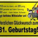 Gelbes Schild mit Esel und Ritter zum 81. Geburtstag