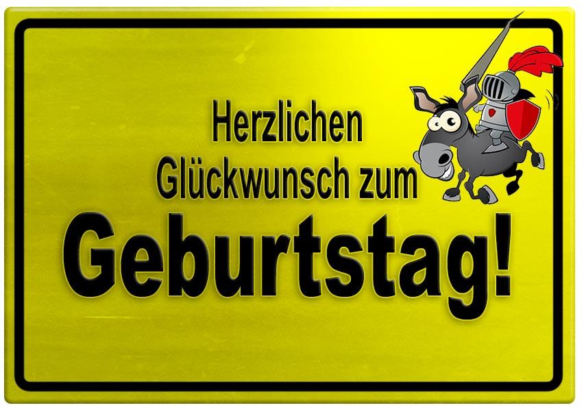 Gelbes Schild mit Esel und Ritter zum Geburtstag