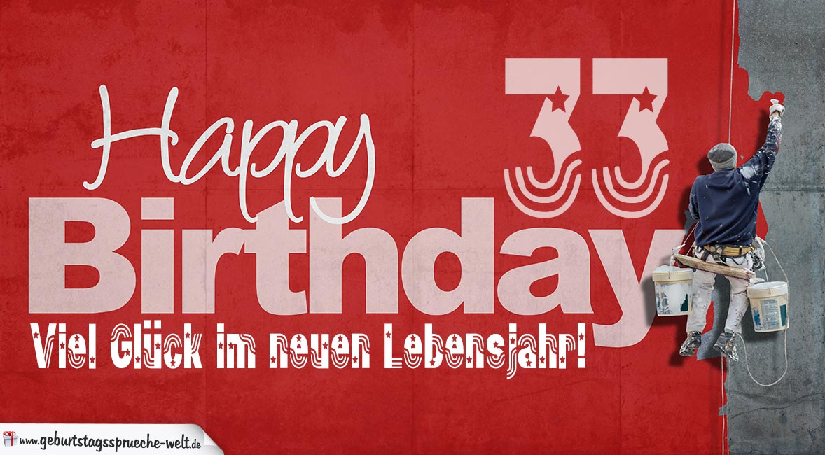 Glückwunsch Zum 33 Geburtstag Happy Birthday