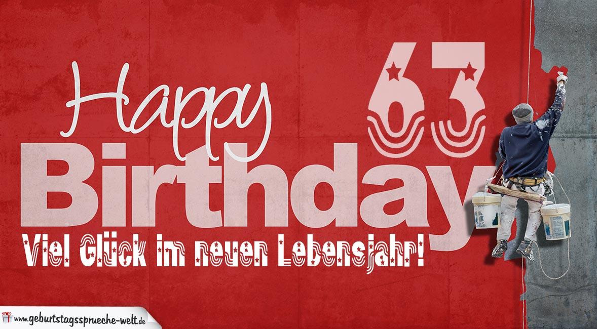 Glückwunsch Zum 63 Geburtstag Happy Birthday