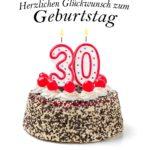 Glückwunschkarte zum 30. Geburtstag - runder Geburtstagskuchen