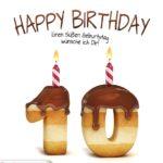 Happy Birthday in Keksschrift zum 10. Geburtstag