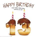 Happy Birthday in Keksschrift zum 13. Geburtstag