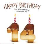 Happy Birthday in Keksschrift zum 14. Geburtstag