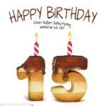 Happy Birthday in Keksschrift zum 15. Geburtstag