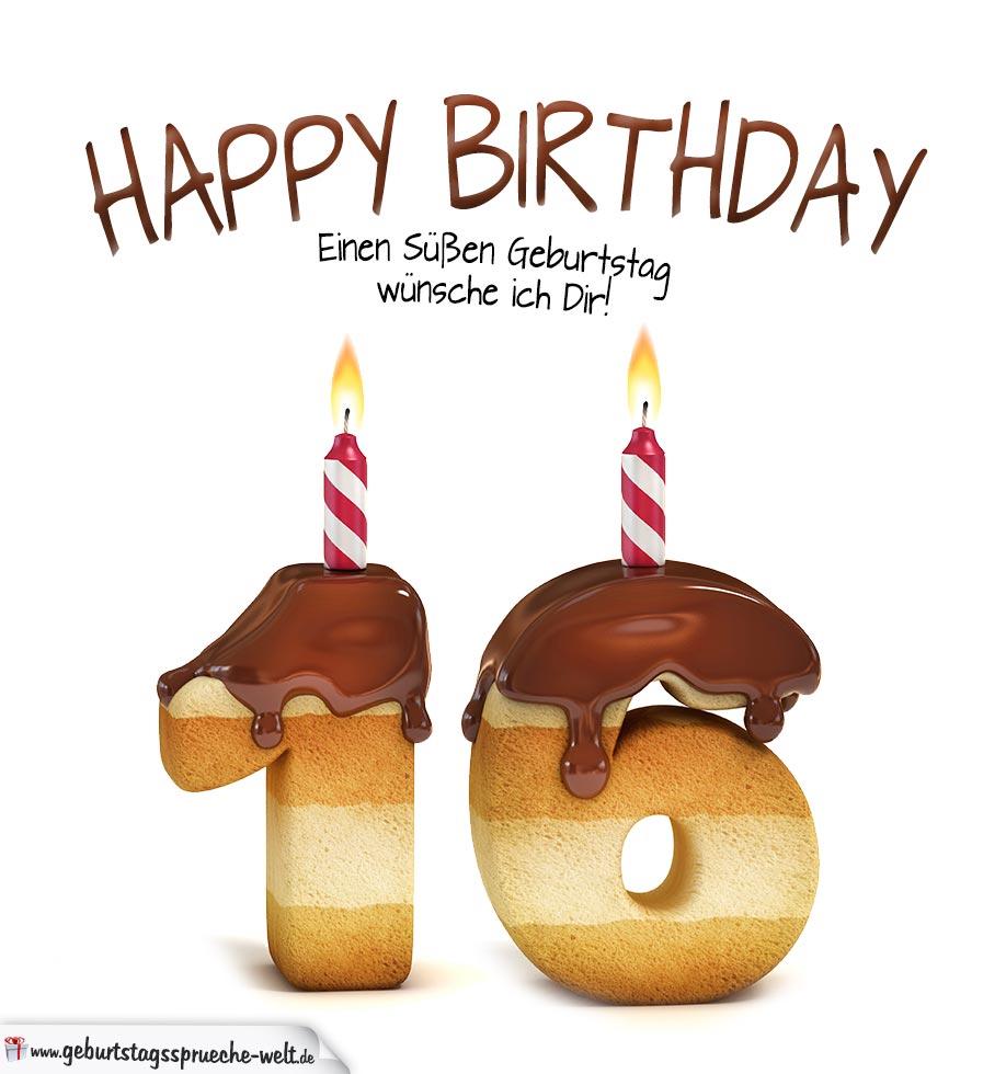 happy birthday in keksschrift zum 16. geburtstag