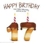 Happy Birthday in Keksschrift zum 17. Geburtstag