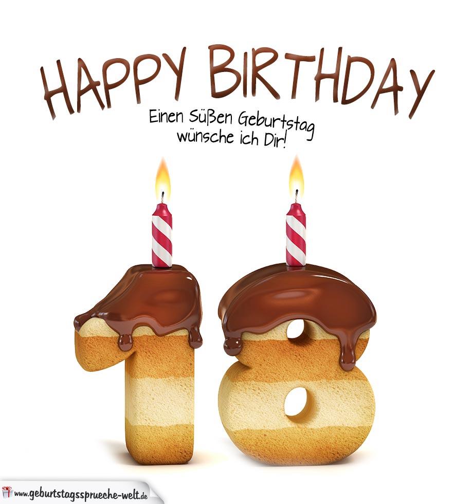 happy birthday in keksschrift zum 18. geburtstag