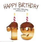 Happy Birthday in Keksschrift zum 19. Geburtstag