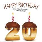 Happy Birthday in Keksschrift zum 20. Geburtstag