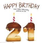 Happy Birthday in Keksschrift zum 21. Geburtstag