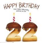Happy Birthday in Keksschrift zum 22. Geburtstag