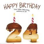 Happy Birthday in Keksschrift zum 24. Geburtstag