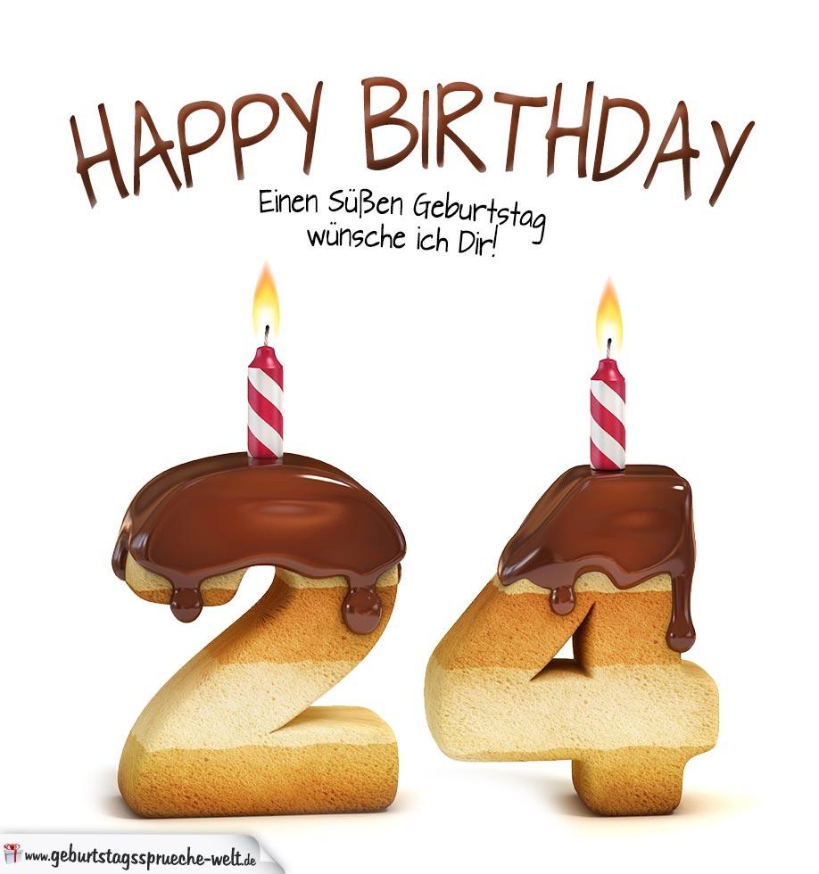 happy birthday in keksschrift zum 24 geburtstag