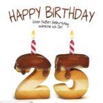Happy Birthday in Keksschrift zum 25. Geburtstag