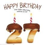 Happy Birthday in Keksschrift zum 27. Geburtstag