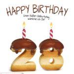 Happy Birthday in Keksschrift zum 28. Geburtstag