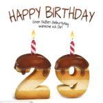 Happy Birthday in Keksschrift zum 29. Geburtstag