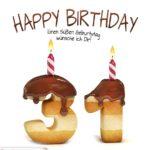 Happy Birthday in Keksschrift zum 31. Geburtstag