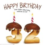 Happy Birthday in Keksschrift zum 32. Geburtstag