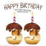 Happy Birthday in Keksschrift zum 33. Geburtstag