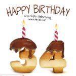 Happy Birthday in Keksschrift zum 34. Geburtstag