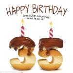 Happy Birthday in Keksschrift zum 35. Geburtstag